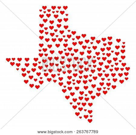 Collage Map Of Texas State Created With Red Love Hearts. Vector Lovely Geographic Abstraction Of Map