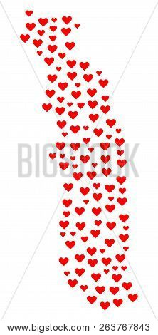 Collage Map Of Togo Created With Red Love Hearts. Vector Lovely Geographic Abstraction Of Map Of Tog