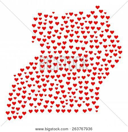 Collage Map Of Uganda Formed With Red Love Hearts. Vector Lovely Geographic Abstraction Of Map Of Ug