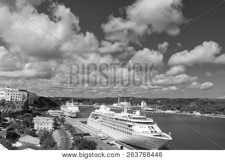 Mahon, Spain - April 06, 2010: Passenger Ship Silver Cloud By Silversea In Sea Port. Cruise Liner In