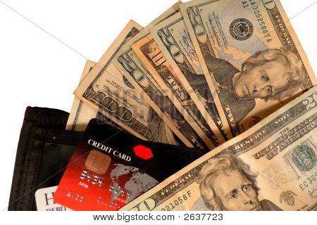 Kreditkarten, Geld und Brieftasche