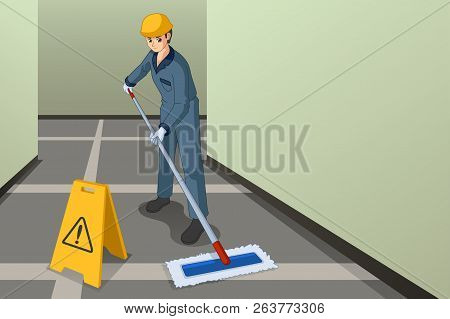 A Vector Illustration Of Working Janitor Mopping The Floor