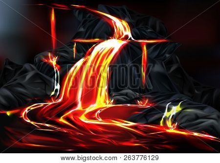 River And Fountains Of Hot Lava Flowing From Mountain Rocks During Volcano Eruption Realistic Vector