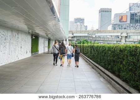 Bangkok - Thailand - September 28 2018: Foreign Tourists Walk Outdoor To Go Shopping In Mbk Centre