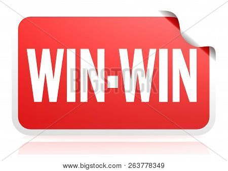 Win-win Word Red Square Banner, 3d Rendering