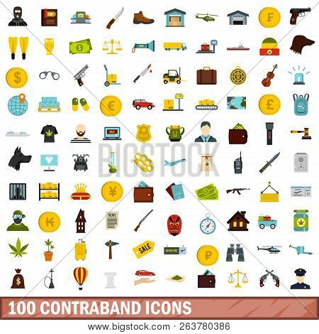 100 Contraband Icons Set In Flat Style For Any Design Illustration