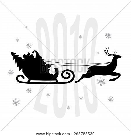 Santa Claus In A Sleigh, Snowflakes, Vector Illustration, 2018 Meryy Christmas And Happy New Year