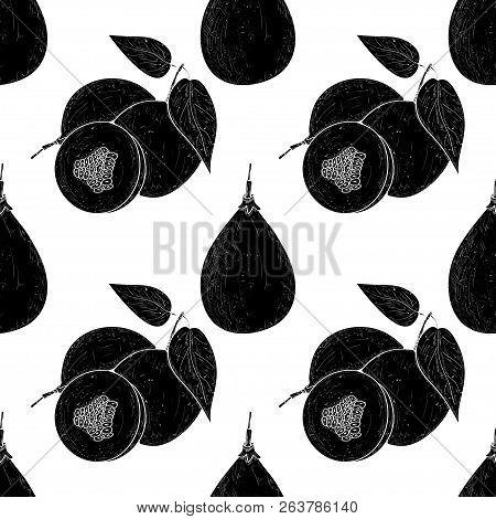 Granadilla. Black Silhouette On White Background. Texture, Seamless, Wallpaper.