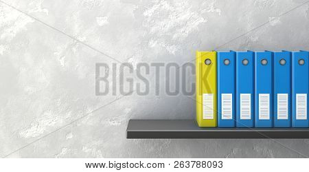 Office Folders On Black Shelf. 3d Rendering