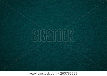 Texture Of Old Dark Green Paper Background, Closeup. Structure Of Dense Deep Bluish Kraft Cardboard.