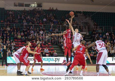Samara, Russia - December 17: Bc Krasnye Krylia Center Anton Pushkov #14 Jumps The Opening Tip Again