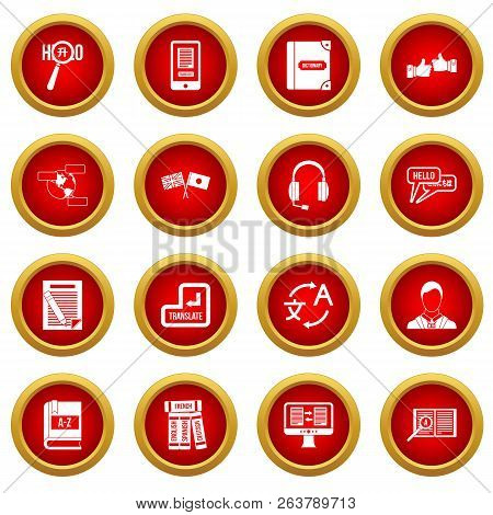 Learning Foreign Languages Icon Red Circle Set Isolated On White Background