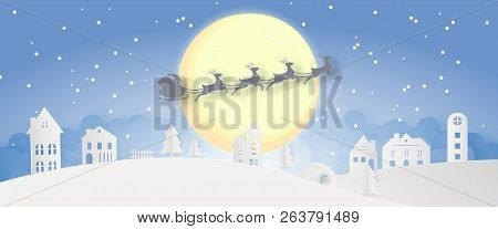 merry christmas snowy town day night and happy new year blue xmas festival end year party