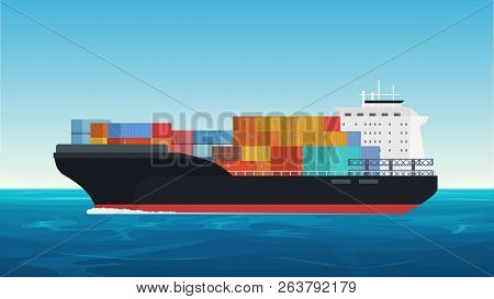 Vector Cargo Ship With Containers In The Ocean. Delivery, Transportation, Shipping Freight Transport