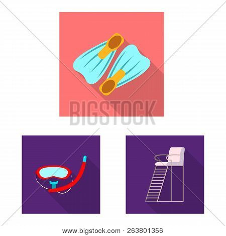 Vector Design Of Pool And Swimming Logo. Set Of Pool And Activity Stock Vector Illustration.