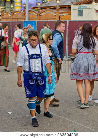 Munich, Germany - October 07, 2018: People In National Costumes At The Biggest Folk Festival In The