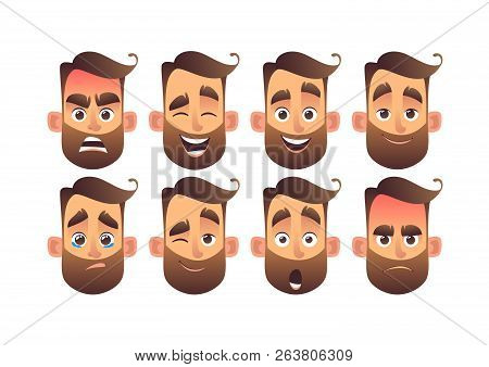 Set Of Male Facial Emotions With Different Expressions Vector Illustration In Cartoon Style