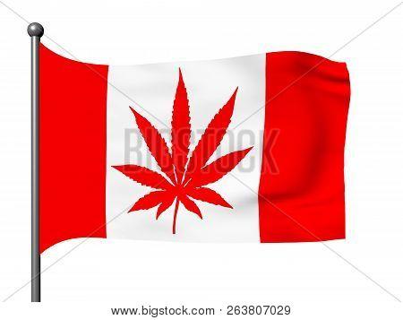 Canadian Flag With Marijuana Leaf Instead Maple Leaf, 3d Illustration