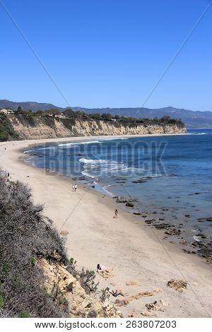 Malibu, Usa - April 6, 2014: People Visit Point Dume State Beach Near Malibu, California. California
