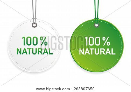 100 Percent Natural Cachet Green And White Label Vector Illustration Eps10