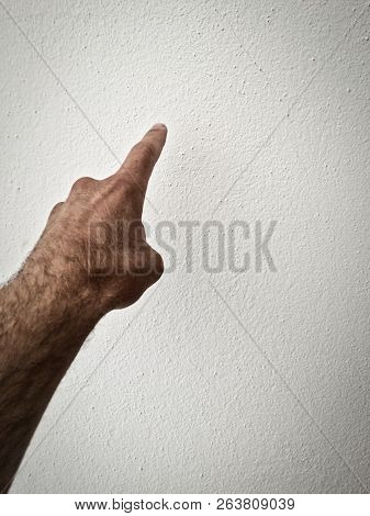 Outstretched Palm, Hand On A White Background, Part Of The Body, Part Of The Hand, White Skin, One F