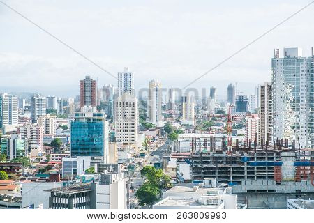 Panama City, Panama - March 2018: Cityscape Aerial,  Skyline Of Downtown Panama City