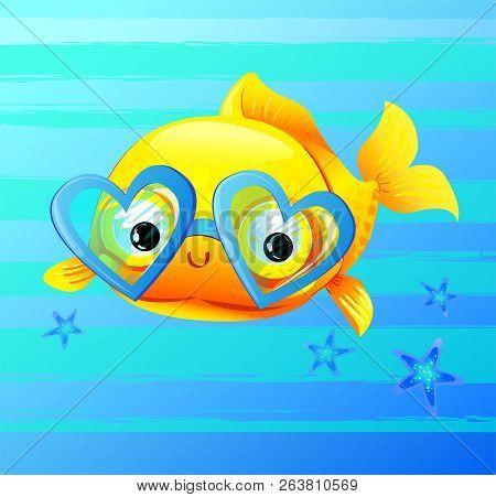 Cute Gold Fish Cartoon Vector Illustration. Design Print Sea Theme With A Goldfish. Cartoon Characte
