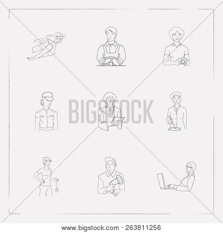 Set of profession icons line style symbols with paparazzi, programmer, chef and other icons for your web mobile app logo design. poster