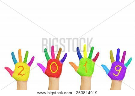 Kids Colorful Hands Forming Number 2019. Holidays Concept.