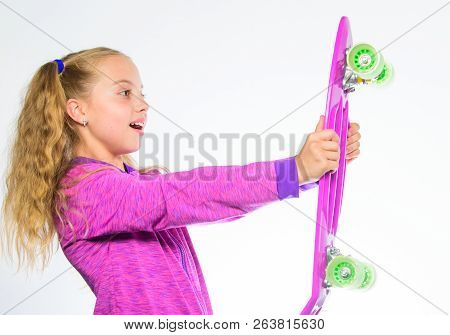 Plastic Skateboards For Everyday Skater. Child Hold Penny Board. Choose Skateboard That Looks Great