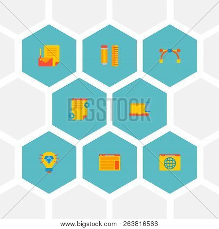 Set Of Website Development Icons Flat Style Symbols With Design Tool, Brilliant Idea, Project Brief