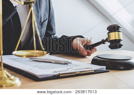 Judge Gavel With Scales Of Justice, Professional Male Lawyers Or Counselor Working Having At Law Fir