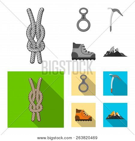 Vector Illustration Of Mountaineering And Peak Symbol. Collection Of Mountaineering And Camp Vector