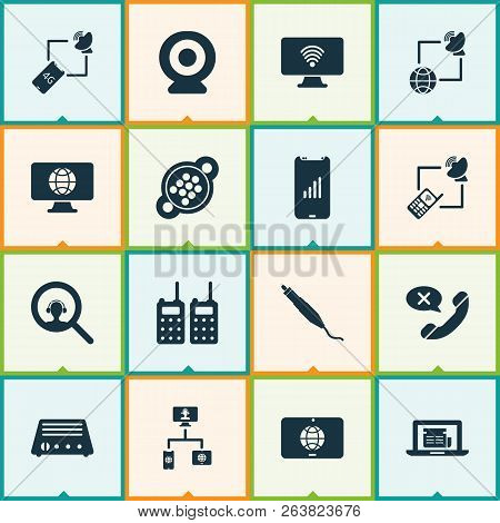 Communication Icons Set With Communications, Online News, Search Dispatcher And Other Smartphone Ele