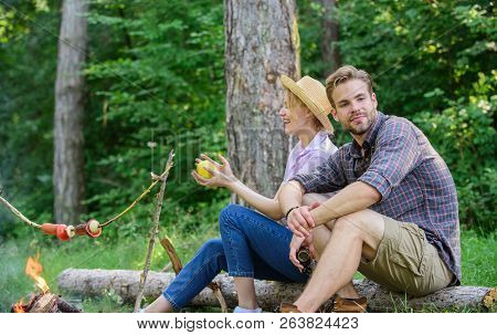Idyllic Picnic Date. Pleasant Smell Of Roasted Food Makes Picnic Atmosphere Perfect. Couple In Love