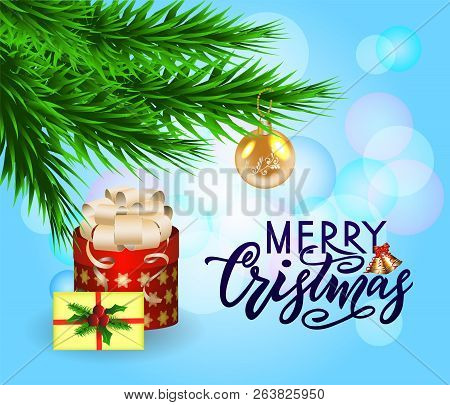 Merry Chirstmas, Composition With Fir Tree Branches With Toy, Gift, Holiday Envelope And Modern Call