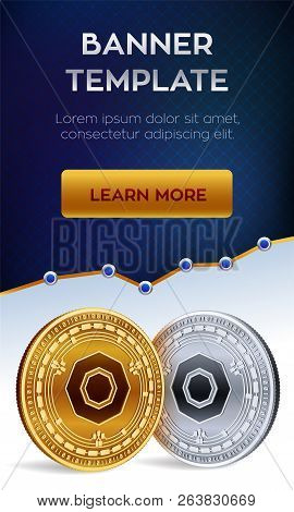Cryptocurrency Editable Banner Template. Komodo. 3d Isometric Physical Bit Coin. Golden And Silver K