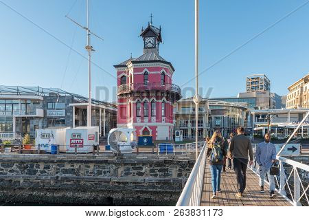 Cape Town, South Africa, August 9, 2018: The Historic Clock Tower At The Victoria And Alfred Waterfr