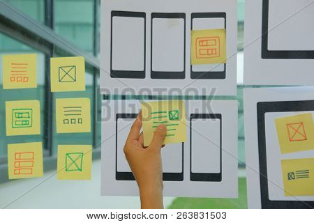 User Experience, Ux Designer Designing Web On Smart Phone Tablet Layout. Ui Planning Mobile Applicat