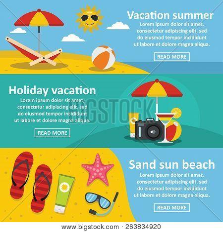 Summer Sea Rest Horizontal Concept Set. Flat Illustration Of 3 Summer Sea Rest Banner Horizontal Con