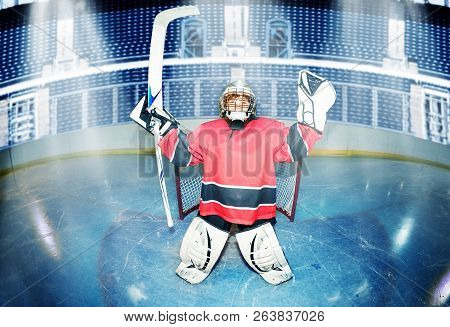 Young Goaltender Celebrates Victory At Hockey Rink