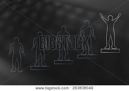 People On Steps And Person On The Highest Position With Happy Attitude And Different Color, Concept