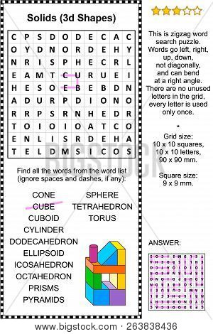 Solids, Or 3d Shapes, Themed Zigzag Word Search Puzzle (suitable Both For Kids And Adults). Answer I