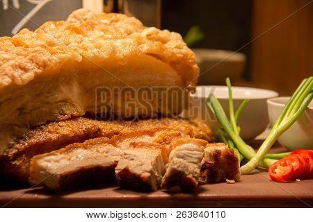 A Deliciousr Roast Pork Belly Crispy Sliced