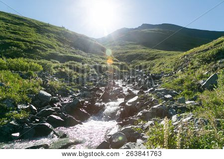A Fast Mountain Stream In The Mountains.