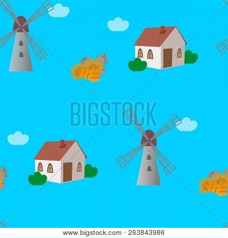 Blue Seamless Pattern With Windmills, Cottadges, Jute Sacks And Sheafs Of Wheat Or Barley. Vector Il
