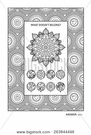 Puzzle And Coloring Activity Page With Visual Logic Puzzle And Wide Decorative Frame To Color. Answe