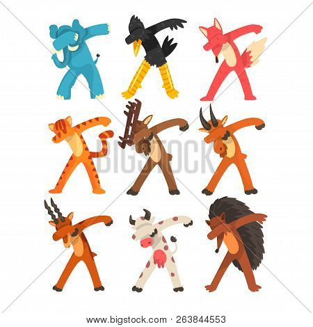 Various Animals Standing In Dub Dancing Poses Set, Cute Cartoon Humanized Animals Doing Dubbing Vect