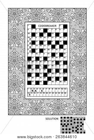Puzzle And Coloring Activity Page For Grown-ups With Codebreaker, Or Codeword, Else Code Cracker Wor