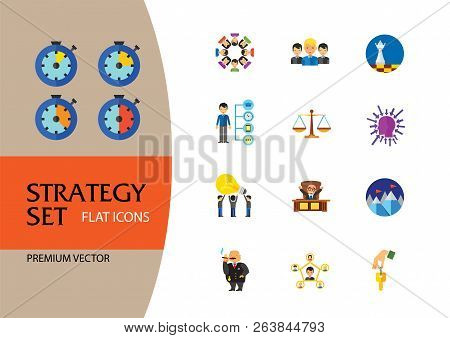 Strategy Icon Set. Team Structure Common Idea Director Executive Manager Rich Person Team Time Manag